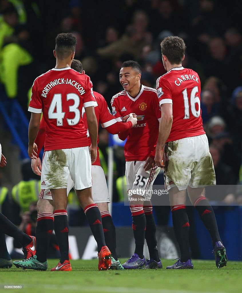 <a gi-track='captionPersonalityLinkClicked' href=/galleries/search?phrase=Jesse+Lingard&family=editorial&specificpeople=7601596 ng-click='$event.stopPropagation()'>Jesse Lingard</a> of Manchester United celebrates with team mates after scoring the openieng goal during the Barclays Premier League match between Chelsea and Manchester United at Stamford Bridge on February 7, 2016 in London, England.
