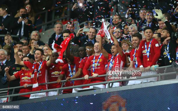 Jesse Lingard of Manchester United celebrates with the trophy during the EFL Cup Final match between Manchester United and Southampton at Wembley...