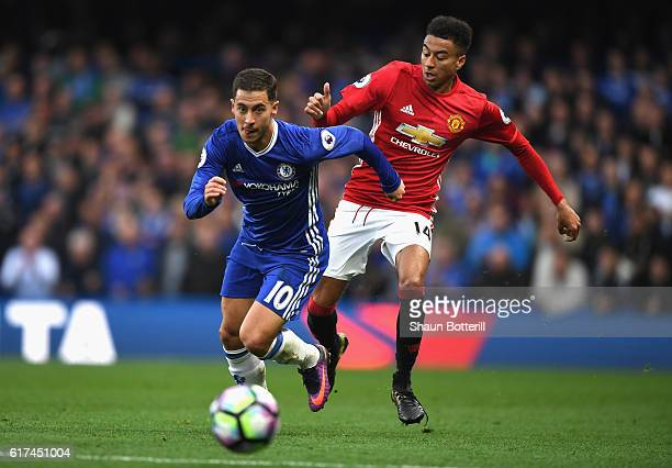 Jesse Lingard of Manchester United closes down Eden Hazard of Chelsea during the Premier League match between Chelsea and Manchester United at...