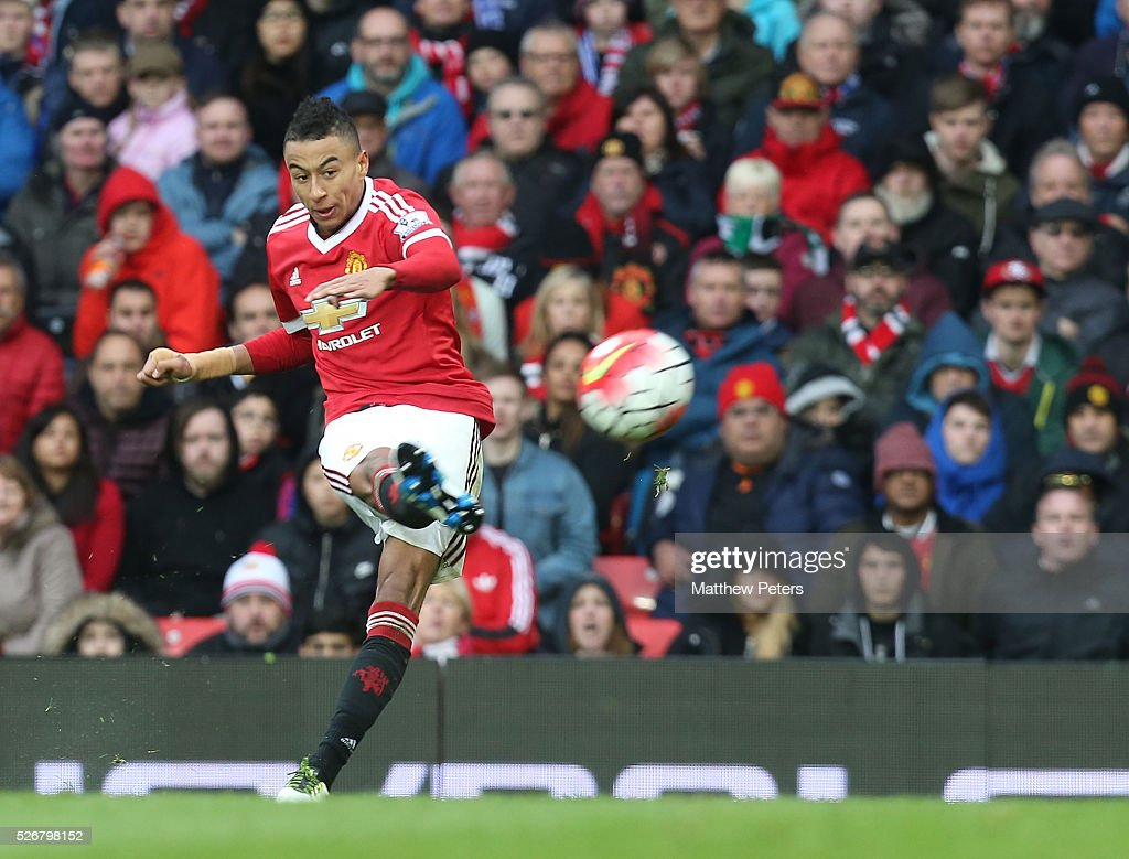 <a gi-track='captionPersonalityLinkClicked' href=/galleries/search?phrase=Jesse+Lingard&family=editorial&specificpeople=7601596 ng-click='$event.stopPropagation()'>Jesse Lingard</a> of Manchester United has a shot on goal during the Barclays Premier League match between Manchester United and Leicester City at Old Trafford on May 1, 2016 in Manchester, England.