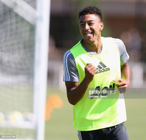 Jesse Lingard of Manchester United in action during a first team training session as part of their preseason tour of the USA on July 25 2017 in...