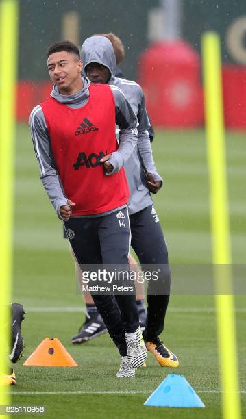 Jesse Lingard of Manchester United in action during a first team training session at Aon Training Complex on August 1 2017 in Manchester England