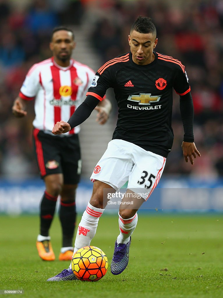 <a gi-track='captionPersonalityLinkClicked' href=/galleries/search?phrase=Jesse+Lingard&family=editorial&specificpeople=7601596 ng-click='$event.stopPropagation()'>Jesse Lingard</a> of Manchester United in action during the Barclays Premier League match between Sunderland and Manchester United at the Stadium of Light on February 13, 2016 in Sunderland, England.