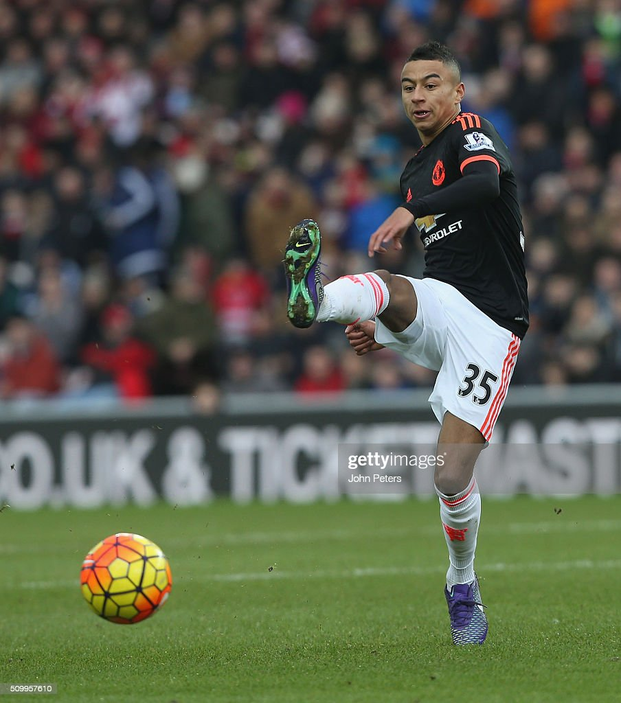 <a gi-track='captionPersonalityLinkClicked' href=/galleries/search?phrase=Jesse+Lingard&family=editorial&specificpeople=7601596 ng-click='$event.stopPropagation()'>Jesse Lingard</a> of Manchester United in action during the Barclays Premier League match between Sunderland and Manchester United at Stadium of Light on February 13, 2016 in Sunderland, England.