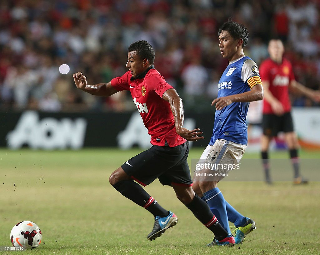 Jesse Lingard of Manchester United in action during the pre-season friendly match between Kitchee FC and Manchester United as part of their pre-season tour of Bangkok, Australia, Japan and Hong Kong at Hong Kong Stadium on July 29, 2013 in So Kon Po, Hong Kong.