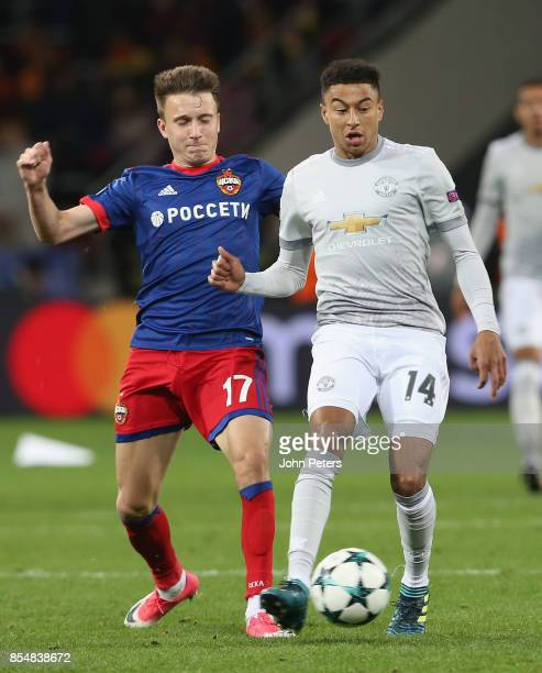 Jesse Lingard of Manchester United in action with Aleksandr Golovin of CSKA Moscow during the UEFA Champions League group A match between CSKA Moskva...