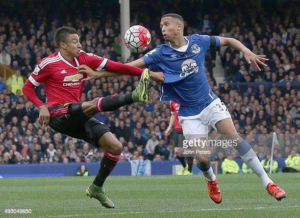 Jesse Lingard of Manchester United in action with Brendan Galloway of Everton during the Barclays Premier League match between Everton and Manchester...