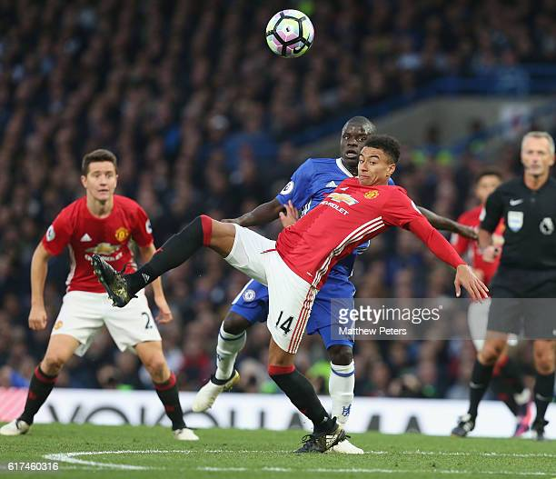 Jesse Lingard of Manchester United in action with Ngolo Kante of Chelsea during the Barclays Premier League match between Chelsea and Manchester...