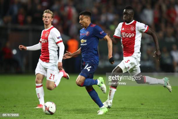 Jesse Lingard of Manchester United is chased down by Davinson Sanchez of Ajax during the UEFA Europa League Final between Ajax and Manchester United...