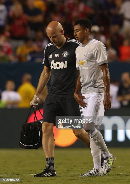 Jesse Lingard of Manchester United leaves the match with an injury during the International Champions Cup 2017 preseason friendly match between...