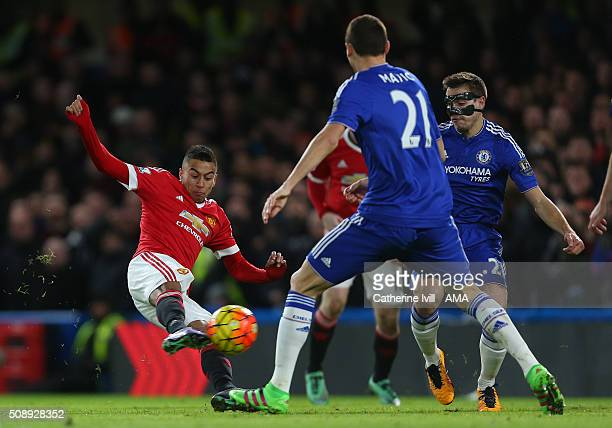 Jesse Lingard of Manchester United scores a goal to make it 01 during the Barclays Premier League match between Chelsea and Manchester United at...