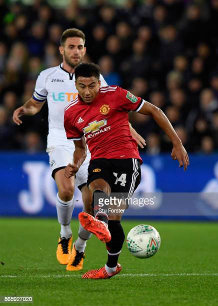 Jesse Lingard of Manchester United scores his sides first goal during the Carabao Cup Fourth Round match between Swansea City and Manchester United...