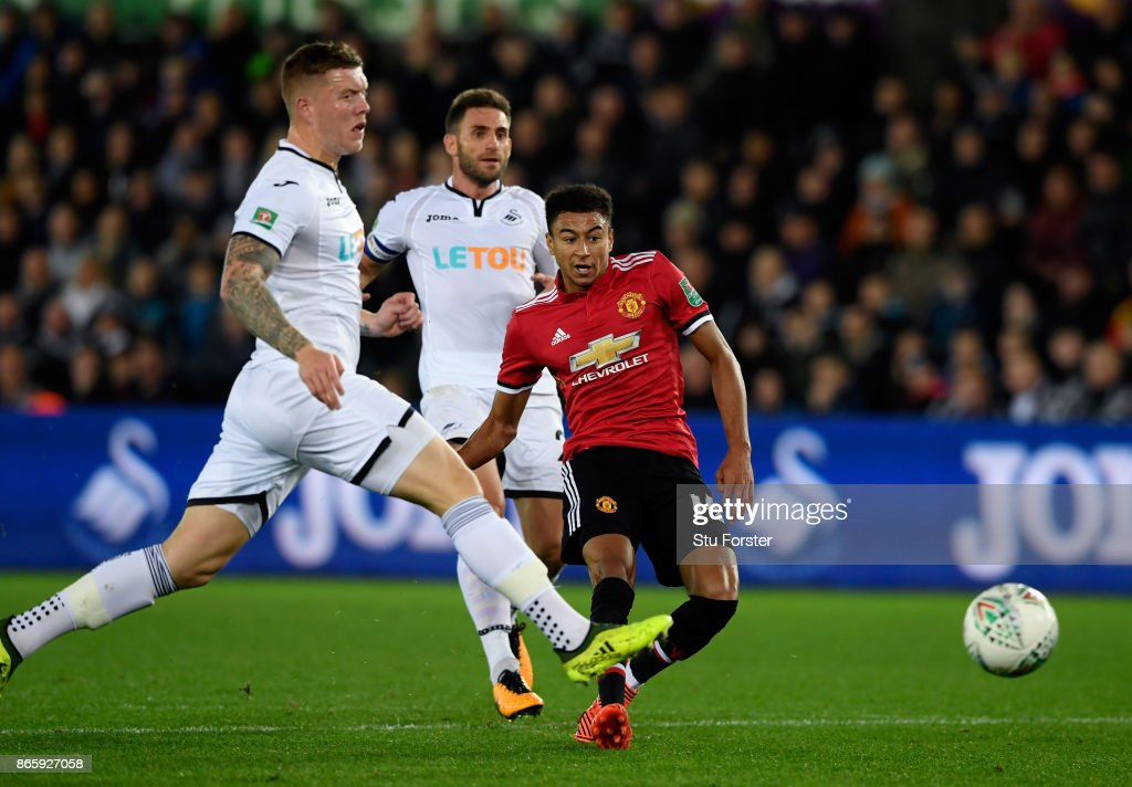 Jesse Lingard of Manchester United scores his sides first goal during the Carabao Cup Fourth Round match between Swansea City and Manchester United at Liberty Stadium on October 24, 2017 in Swansea, Wales.