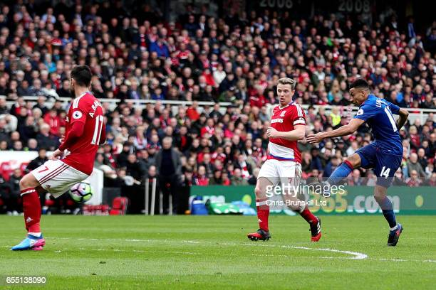 Jesse Lingard of Manchester United scores his side's second goal during the Premier League match between Middlesbrough and Manchester United at...