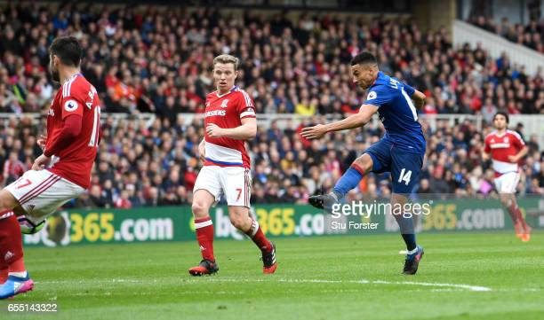 Jesse Lingard of Manchester United scores his sides second goal during the Premier League match between Middlesbrough and Manchester United at...