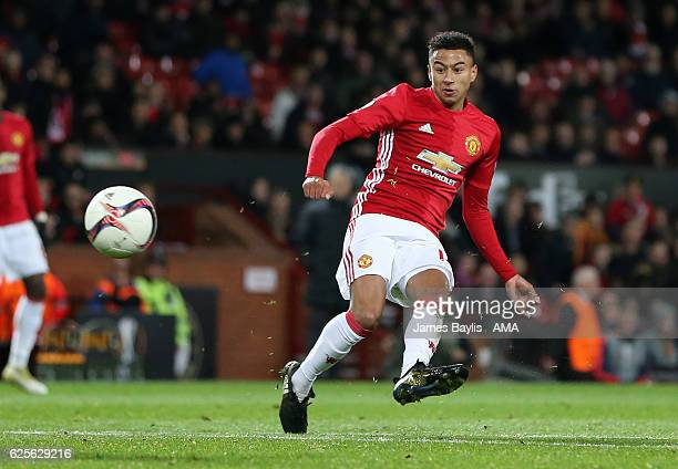 Jesse Lingard of Manchester United scores the fourth goal to make the score 40 during the UEFA Europa League match between Manchester United FC and...