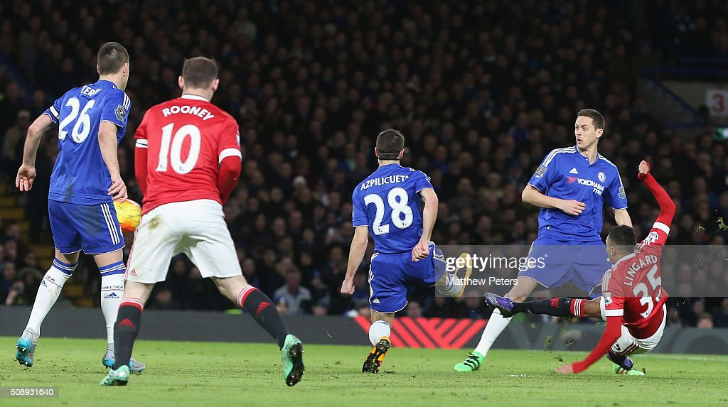 <a gi-track='captionPersonalityLinkClicked' href=/galleries/search?phrase=Jesse+Lingard&family=editorial&specificpeople=7601596 ng-click='$event.stopPropagation()'>Jesse Lingard</a> of Manchester United scores their first goal during the Barclays Premier League match between Chelsea and Manchester United at Stamford Bridge on February 7 2016 in London, England.