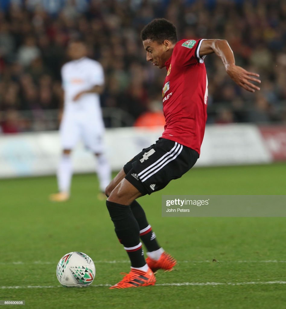 Jesse Lingard of Manchester United scores their first goal during the Carabao Cup Fourth Round match between Swansea City and Manchester United at Liberty Stadium on October 24, 2017 in Swansea, Wales.