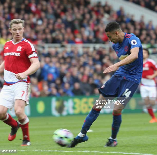 Jesse Lingard of Manchester United scores their second goal during the Premier League match between Middlesbrough and Manchester United at Riverside...