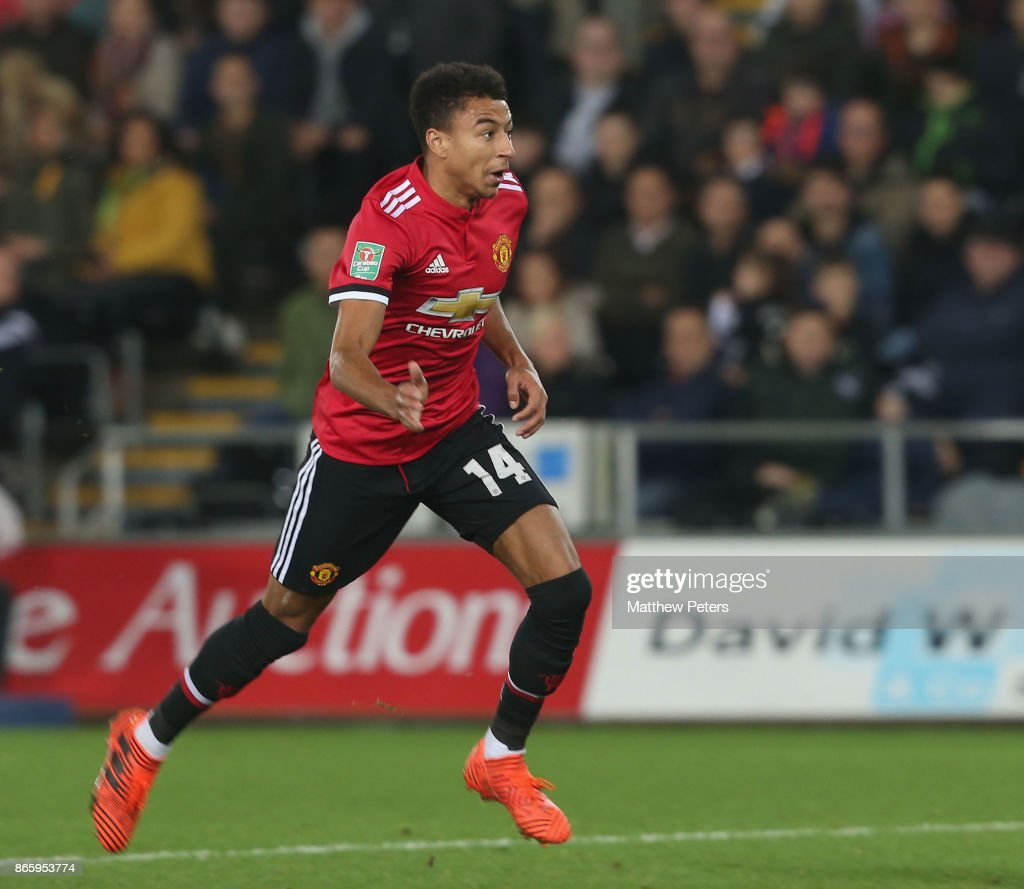 Jesse Lingard of Manchester United scores their second goal during the Carabao Cup Fourth Round match between Swansea City and Manchester United at Liberty Stadium on October 24, 2017 in Swansea, Wales.