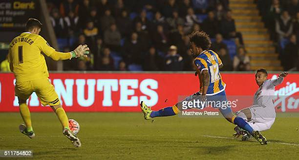 Jesse Lingard of Manchester United scores their third goal during the Emirates FA Cup Fifth Round match between Shrewsbury Town and Manchester United...