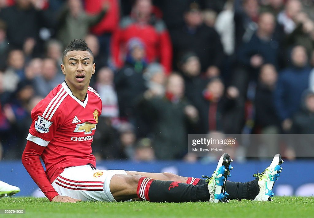 <a gi-track='captionPersonalityLinkClicked' href=/galleries/search?phrase=Jesse+Lingard&family=editorial&specificpeople=7601596 ng-click='$event.stopPropagation()'>Jesse Lingard</a> of Manchester United shows his disappointment as not winning a foul against Danny Simpson of Leicester City during the Barclays Premier League match between Manchester United and Leicester City at Old Trafford on May 1, 2016 in Manchester, England.