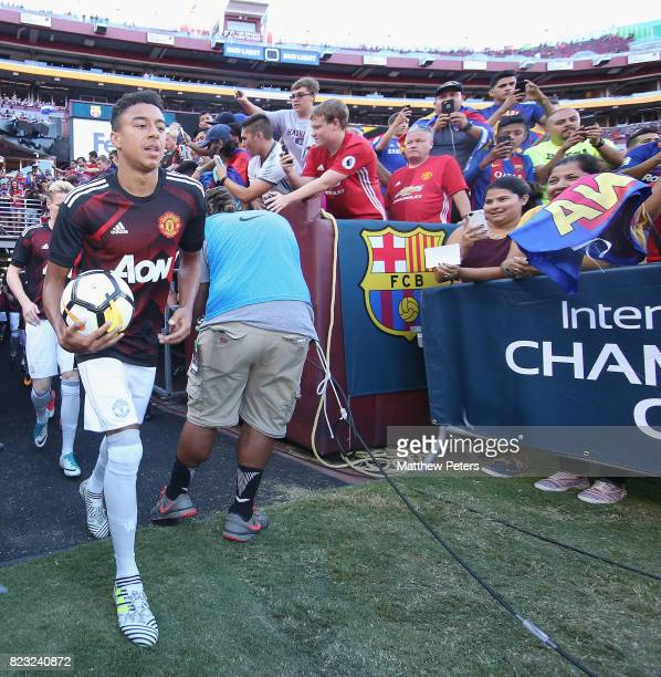 Jesse Lingard of Manchester United walks out for the warmup ahead of the International Champions Cup 2017 preseason friendly match between Manchester...