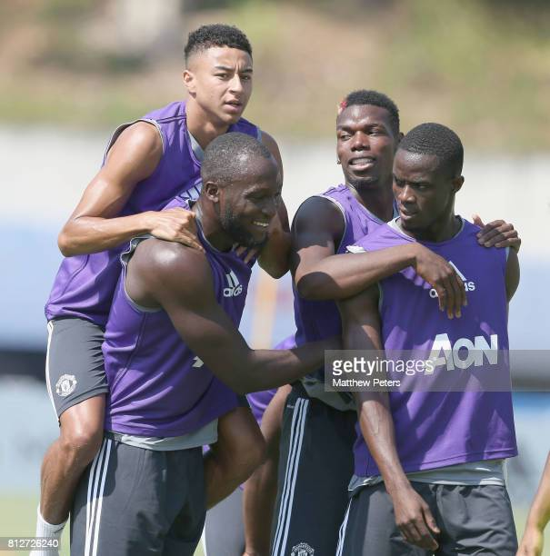 Jesse Lingard Romelu Lukaku Paul Pogba and Eric Bailly of Manchester United in action during a first team training session as part of the club's...