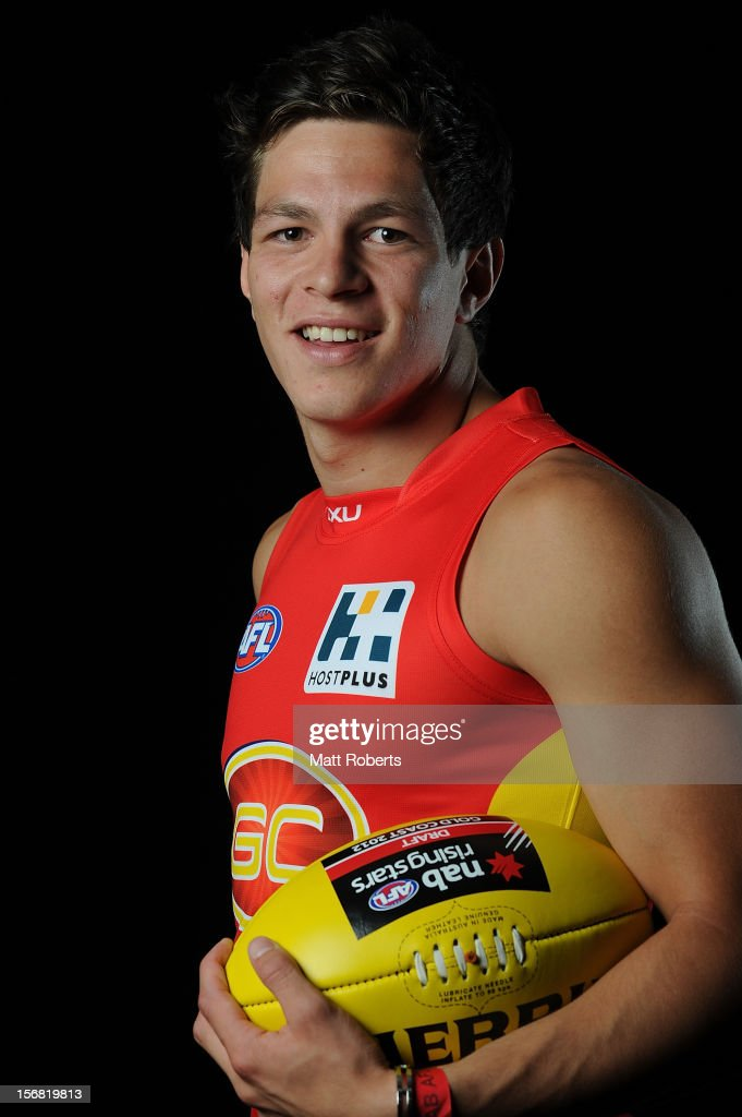 Jesse Lonergan poses for a photograph after being drafted to the Gold Coast during the 2012 AFL Draft at the Gold Coast Exhibition Centre on November 22, 2012 on the Gold Coast, Australia.