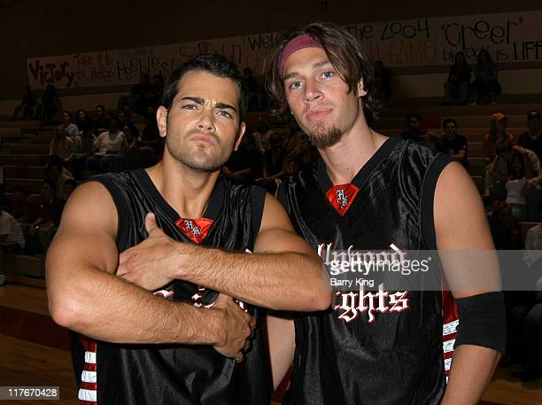Jesse Metcalfe and Jack Krizmanich during Hollywood Knights Basketball Game April 7 2004 at Burroughs High School in Burbank California United States