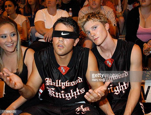 Jesse Metcalfe and Thad Luckinbill during Hollywood Knights Charity Basketball Game Burbank at Burbank High School in Burbank California United States