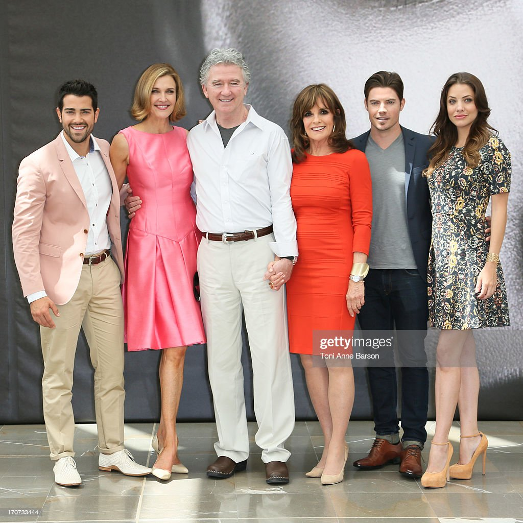 Jesse Metcalfe Brenda Strong Patrick Duffy Linda Gray Josh Henderson and Julie Gonzalo pose at a photocall during the 53rd Monte Carlo TV Festival on...