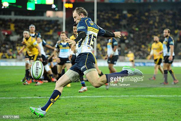 Jesse Mogg clears the ball for the Brumbies behind the Hurricanes try line during the Super Rugby Semi Final match between the Hurricanes and the...