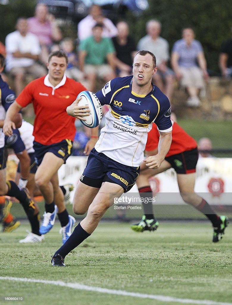 Jesse Mogg of the Brumbies runs over to score a try during the Super Rugby trial match between the Brumbies and the ACT XV at Viking Park on February 8, 2013 in Canberra, Australia.