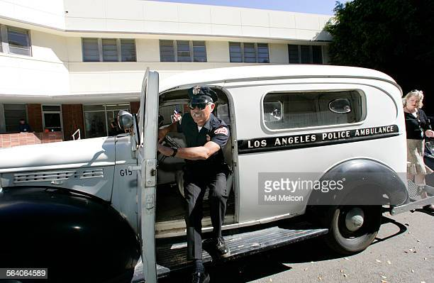 Jesse Ortiz an LA city firefighter steps out of an oldtime police ambulance that was once used to transport patients to the Central Receiving...
