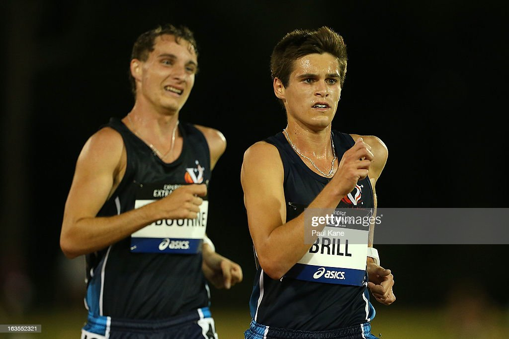 Jesse Osborne and Nathan Brill of Victoria compete in the Men's under 20 10000 metre race walk during day one of the Australian Junior Championships at the WA Athletics Stadium on March 12, 2013 in Perth, Australia.