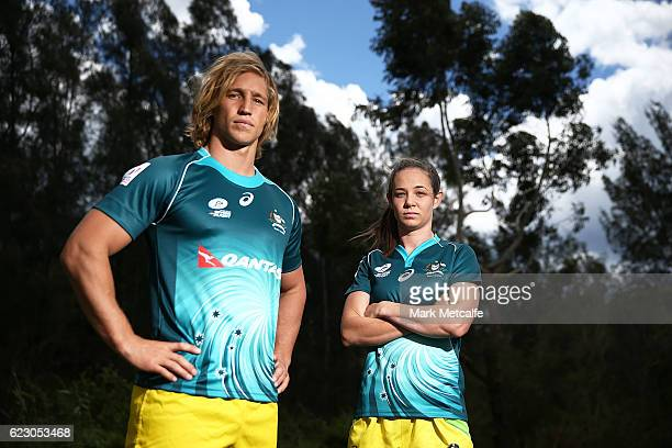Jesse Parahi and Chloe Dalton pose during the Australian Sevens Rugby Jersey launch at the Sydney Academy of Sport on November 14 2016 in Sydney...