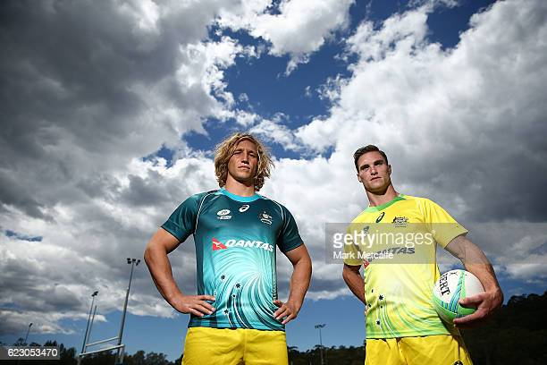 Jesse Parahi and Ed Jenkins pose during the Australian Sevens Rugby Jersey launch at the Sydney Academy of Sport on November 14 2016 in Sydney...