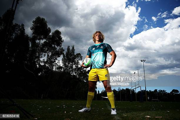 Jesse Parahi poses during the Australian Sevens Rugby Jersey launch at the Sydney Academy of Sport on November 14 2016 in Sydney Australia