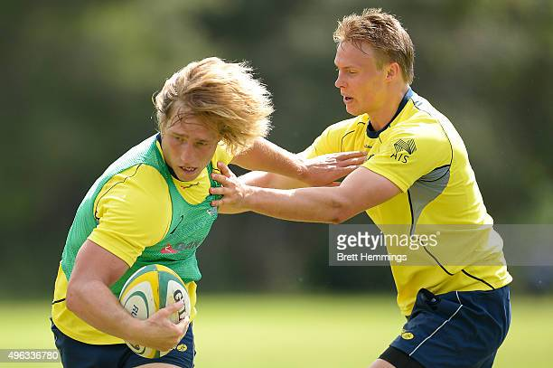 Jesse Parahi runs the ball during an Australian men's rugby sevens training session at Sydney Academy of Sport on November 9 2015 in Sydney Australia