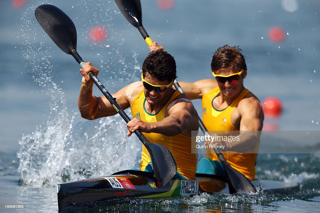 Jesse Phillips and Stephen Bird of Australia compete in the Men's Kayak Double 200m Canoe Sprint semifinals on Day 14 of the London 2012 Olympic...