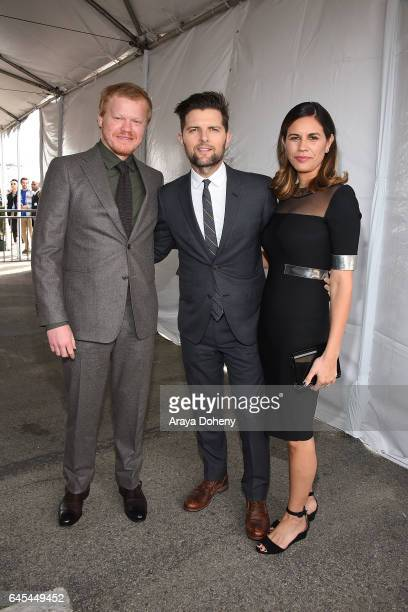 Jesse Plemons Adam Scott and Naomi Scott during the 2017 Film Independent Spirit Awards at the Santa Monica Pier on February 25 2017 in Santa Monica...