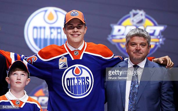 4 Jesse Puljujarvi celebrates after being selected fourth overall by the Edmonton Oilers during round one of the 2016 NHL Draft on June 24 2016 in...