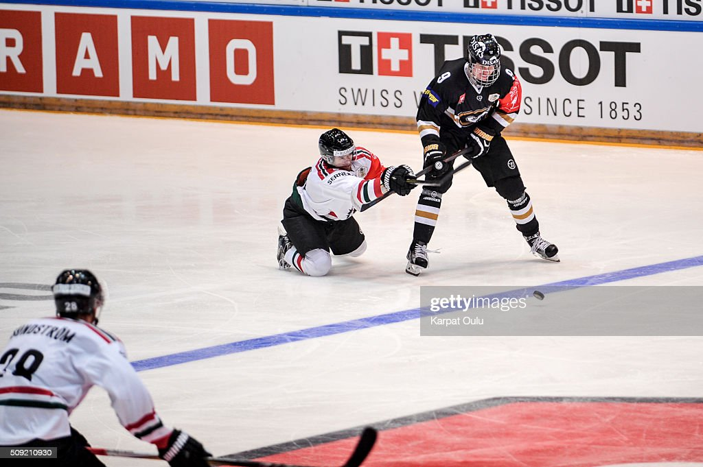 Jesse Puljujarvi #9 of Karpat Oulu and Spencer Abbott #9 of Frolunda Gothenburg during the Champions Hockey League final between Karpat Oulu and Frolunda Gothenburg at Oulun Energia-Areena on February 9, 2016 in Oulu, Finland.