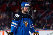 Jesse Puljujarvi of Team Finland looks on during the 2015 IIHF World Junior Hockey Championship game against Team Slovakia at the Bell Centre on...