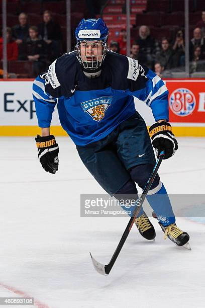 Jesse Puljujarvi of Team Finland skates during the 2015 IIHF World Junior Hockey Championship game against Team Slovakia at the Bell Centre on...