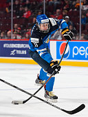 Jesse Puljujarvi of Team Finland takes a shot in a preliminary round game during the 2015 IIHF World Junior Hockey Championships against Team Germany...