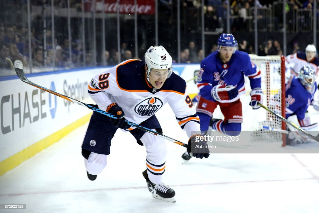 Jesse Puljujarvi #98 of the Edmonton Oilers chases the puck in the third period against the New York Rangers during their game at Madison Square Garden on November 11, 2017 in New York City.