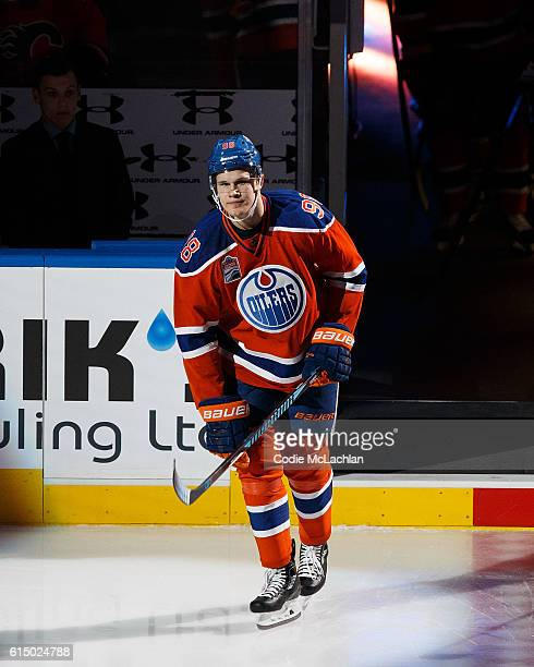 Jesse Puljujarvi of the Edmonton Oilers is introduced before the home opener against the Calgary Flames on October 12 2016 at Rogers Place in...