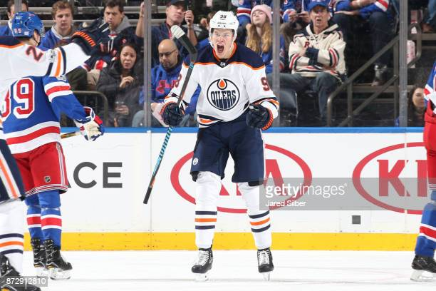 Jesse Puljujarvi of the Edmonton Oilers reacts after scoring a goal in the first period against the New York Rangers at Madison Square Garden on...